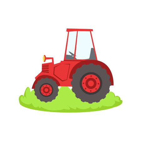 associated: Red Farm Truck Cartoon Farm Related Element On Patch Of Green Grass. Colorful Vector Illustration With Farming And Rancho Associated Isolated Object.