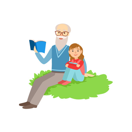 grandparent: Grandfather And Grandson Reading Book, Part Of Grandparent And Grandchild Passing Time Together Set Of Illustrations. Good Relationship Between Generations Of Family Cartoon Vector Drawing.