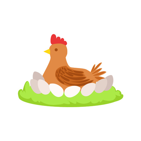 Chicken On Nest Cartoon Farm Related Element On Patch Of Green Grass. Colorful Vector Illustration With Farming And Rancho Associated Isolated Object. Illustration