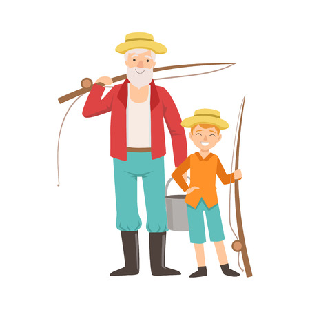 grandparent: Grandfather And Grandson Going Fishing ,Part Of Grandparent And Grandchild Passing Time Together Set Of Illustrations. Good Relationship Between Generations Of Family Cartoon Vector Drawing.