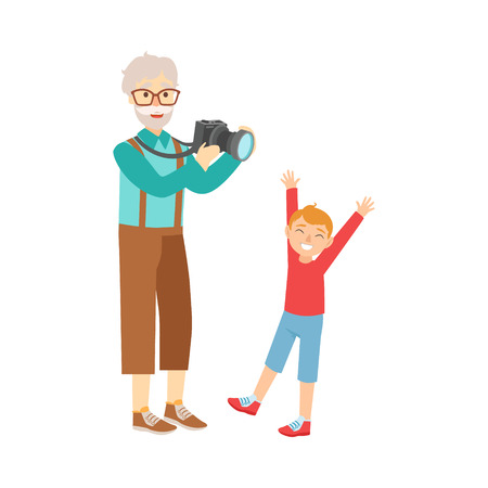 grandparent: Grandfather And Grandson Taking Pictures,Part Of Grandparent And Grandchild Passing Time Together Set Of Illustrations. Good Relationship Between Generations Of Family Cartoon Vector Drawing.