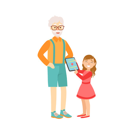 grandparent: Granddaughter Showing Grandfather Tablet, Part Of Grandparent And Grandchild Passing Time Together Set Of Illustrations. Good Relationship Between Generations Of Family Cartoon Vector Drawing. Illustration