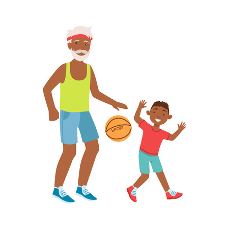 grandparent: Grandfather And Grandson Playing Basketball, Part Of Grandparent And Grandchild Passing Time Together Set Of Illustrations. Good Relationship Between Generations Of Family Cartoon Vector Drawing. Illustration