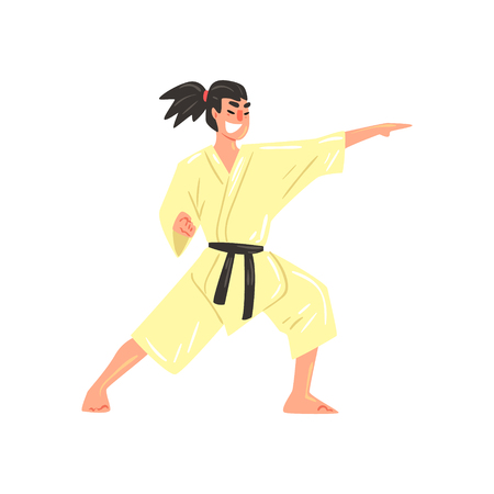 black professional: Karate Professional Fighter In Kimono Kicking With Fist With Black Belt Cool Cartoon Character. Martial Arts Sportsman With Ponytail Demonstrating Classic Kick Technique Vector Illustration.