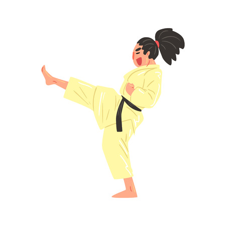 Karate Professional Fighter In Kimono Kicking With Leg With Black Belt Cool Cartoon Character. Martial Arts Sportsman With Ponytail Demonstrating Classic Kick Technique Vector Illustration.