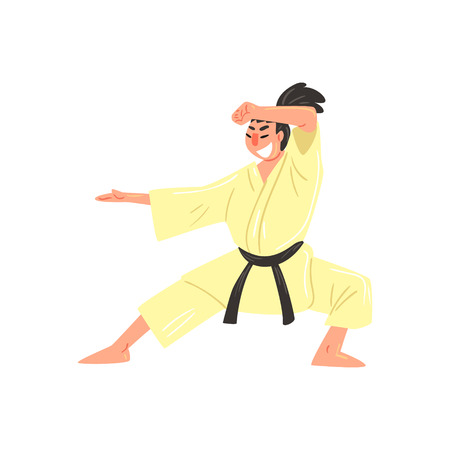 ponytail: Karate Professional Fighter In Kimono With Black Belt Doing Classic Stance Cool Cartoon Character. Martial Arts Sportsman With Ponytail Demonstrating Classic Kick Technique Vector Illustration.