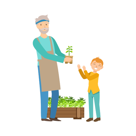 Grandfather And Grandson Gardening, Part Of Grandparent And Grandchild Passing Time Together Set Of Illustrations. Good Relationship Between Generations Of Family Cartoon Vector Drawing. Illustration
