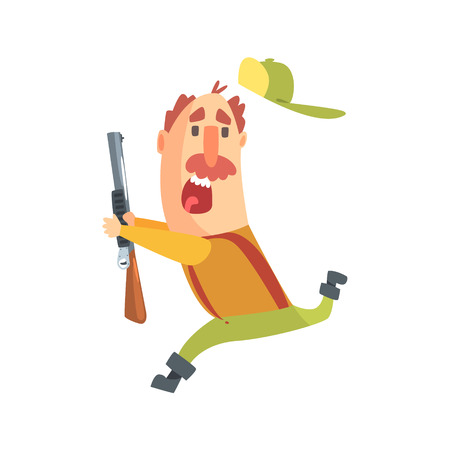 Funny Childish Hunter Character With Moustache Running Away Scared Cartoon Vector Illustration. Man And His Hunting Hobby Comic Scene Flat Drawing.