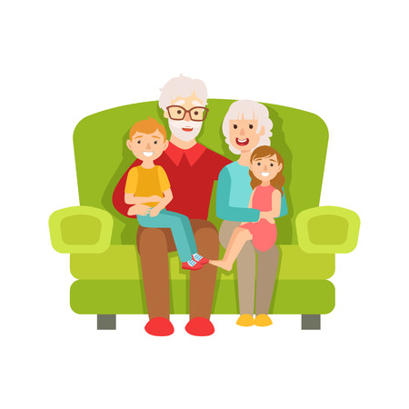 Grandparents And Grandchildren Sitting On The Sofa, Part Of Grandparent And Grandchild Passing Time Together Set Of Illustrations. Good Relationship Between Generations Of Family Cartoon Vector Drawing. Illustration