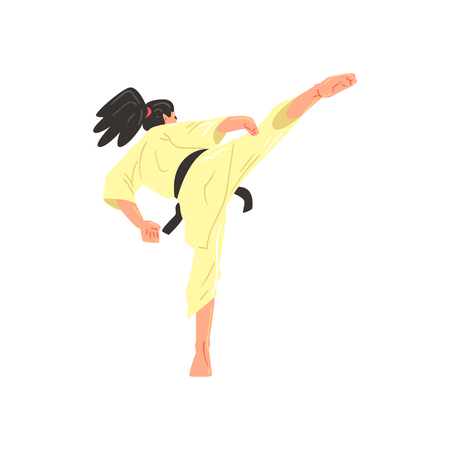 ponytail: Karate Professional Fighter In Kimono With Black Doing Leg Sidekick Belt Cool Cartoon Character. Martial Arts Sportsman With Ponytail Demonstrating Classic Kick Technique Vector Illustration.