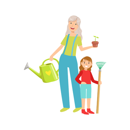 grandparent: Grandmother And Granddaughter Gardening, Part Of Grandparent And Grandchild Passing Time Together Set Of Illustrations. Good Relationship Between Generations Of Family Cartoon Vector Drawing.