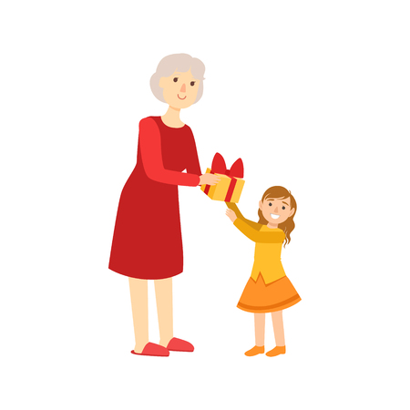grandparent: Grandmother Giving Present To Granddaughter, Part Of Grandparent And Grandchild Passing Time Together Set Of Illustrations. Good Relationship Between Generations Of Family Cartoon Vector Drawing. Illustration