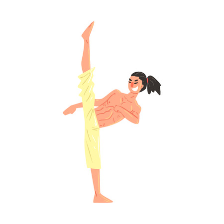 ponytail: Muscly Shirtless Karate Professional Fighter Demonstrating Good Stretching Cool Cartoon Character. Martial Arts Sportsman With Ponytail Demonstrating Classic Kick Technique Vector Illustration.