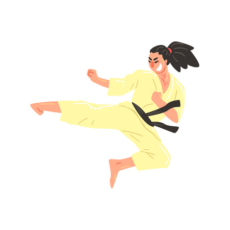ponytail: Karate Professional Fighter In Kimono With Black Belt Kicking While Jumping Cool Cartoon Character. Martial Arts Sportsman With Ponytail Demonstrating Classic Kick Technique Vector Illustration.