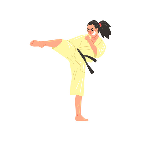 bended: Karate Professional Fighter In Kimono With Black Belt Doing Sidkick With Bended Leg Cool Cartoon Character. Martial Arts Sportsman With Ponytail Demonstrating Classic Kick Technique Vector Illustration.