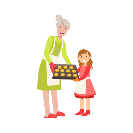 grandparent: Grandmother And Granddaughter Baking Cookies, Part Of Grandparent And Grandchild Passing Time Together Set Of Illustrations. Good Relationship Between Generations Of Family Cartoon Vector Drawing.