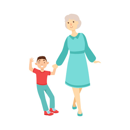 grandparent: Grandmother And Grandson Walking Holding Hands,Part Of Grandparent And Grandchild Passing Time Together Set Of Illustrations. Good Relationship Between Generations Of Family Cartoon Vector Drawing. Illustration