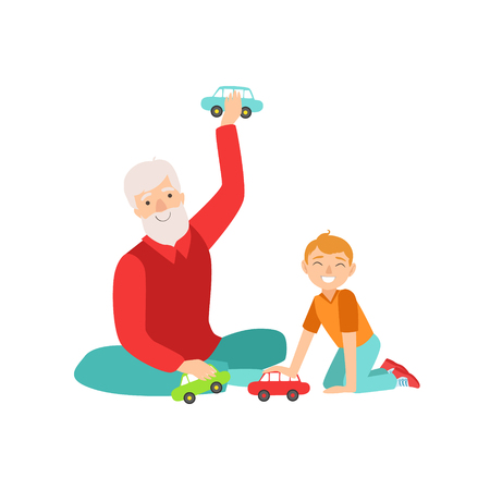 grandparent: Grandfather And Grandson Playing Toy Cars, Part Of Grandparent And Grandchild Passing Time Together Set Of Illustrations. Good Relationship Between Generations Of Family Cartoon Vector Drawing. Illustration
