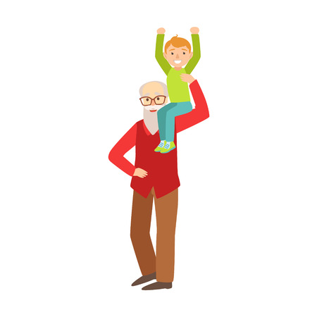 Grandson Sitting On Grandfather Shoulder, Part Of Grandparent And Grandchild Passing Time Together Set Of Illustrations. Good Relationship Between Generations Of Family Cartoon Vector Drawing.