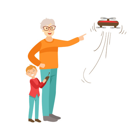 grandparent: Grandfather And Grandson Flying A Drone, Part Of Grandparent And Grandchild Passing Time Together Set Of Illustrations. Good Relationship Between Generations Of Family Cartoon Vector Drawing.