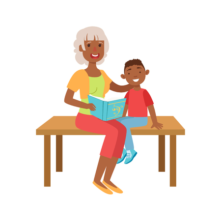 grandparent: Grandmother And Grandson Reading Book, Part Of Grandparent And Grandchild Passing Time Together Set Of Illustrations. Good Relationship Between Generations Of Family Cartoon Vector Drawing.