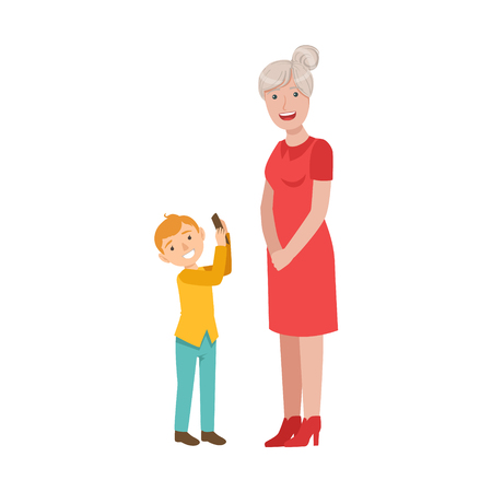 Grandson Showing Smartphone To Grandmother, Part Of Grandparent And Grandchild Passing Time Together Set Of Illustrations. Good Relationship Between Generations Of Family Cartoon Vector Drawing.