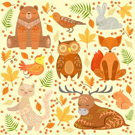 Bosdieren die in Sierpatronenillustratie worden behandeld. Hand getrokken afdrukken in heldere kleuren met artistieke details op achtergrond met herfst dakranden