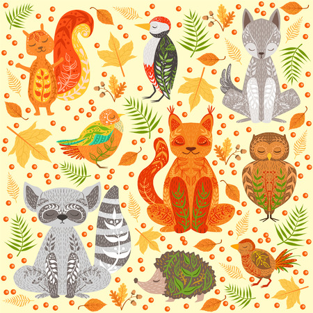 Forest Animals Covered In Creative Ornaments Illustration. Hand Drawn Print In Bright Colors With Artistic Details On Background With Autumn eaves