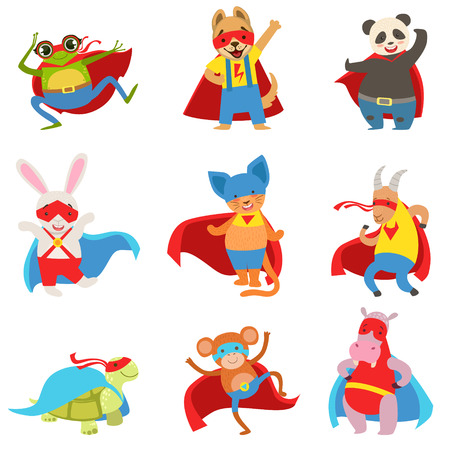 Dieren kleedde zich als Superheroes Met Capes en maskers Set. Kinderachtig Flat Comic tekens geïsoleerd op witte achtergrond.