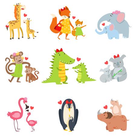 小さい動物および彼らのお母さんのイラスト セット。白い背景に分離された親子ペアでカラフルな幼稚なスタイルの漫画の動物。