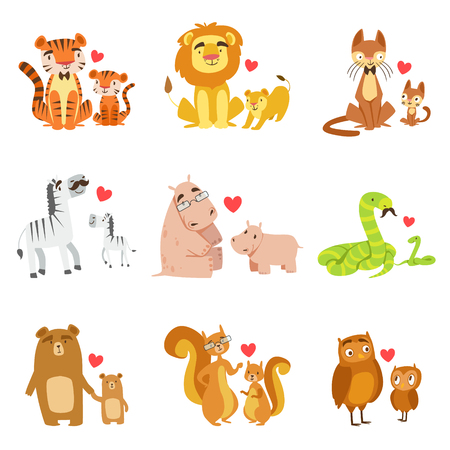 Small Animals And Their Dads Illustration Set. Colorful Childish Style Cartoon Animals In Parent Child Pairs Isolated On White Background.