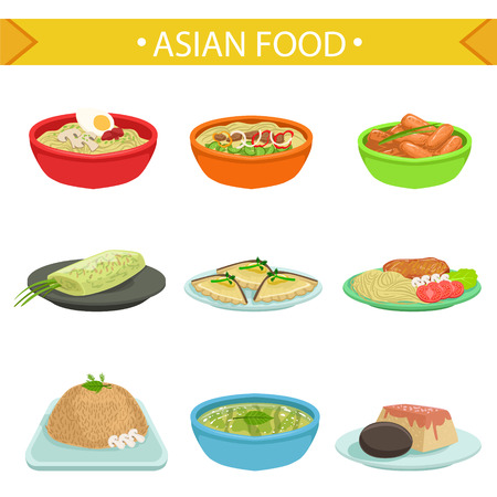Asian Food Famous Dishes Illustration Set. Traditional Cuisine Restaurant Menu Plates In Simplified Vector Drawings,