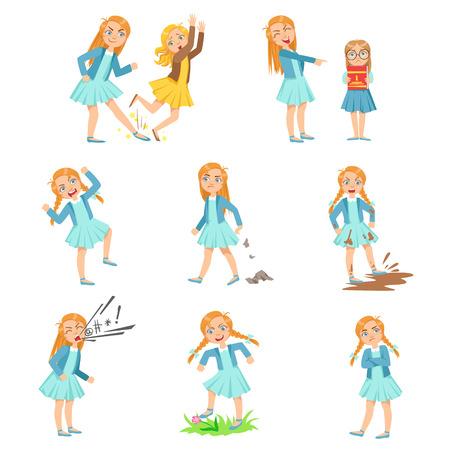 Âgées fille intimidation jeunes enfants et Behaving Badly Set. Couleur vive Isolated Vector Dessins Dans Simple Design Cartoon Sur fond blanc