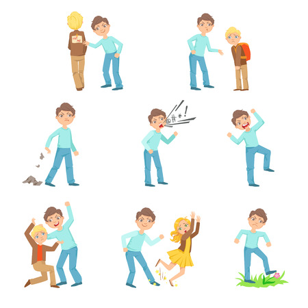 delinquent: Older Boy Bullying Young Children And Behaving Badly Set. Bright Color Isolated Vector Drawings In Simple Cartoon Design On White Background