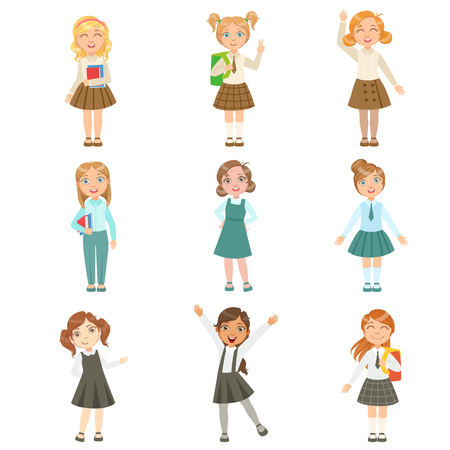 Girls Wearing An Assortment Of Classy School Uniforms Set. Bright Color Isolated Vector Drawings In Simple Cartoon Design On White Background