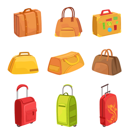 suitcase packing: Suitcases And Other Luggage Bags Set Of Icons. Bright Color Isolated Illustrations In Simplified Childish Vector On White Background,