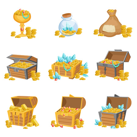 treasury: Treasure And Riches Set Of Graphic Design Elements. Cute Cartoon Style Illustrations With Gold, Jewels And Gems Isolated On White Background. Illustration