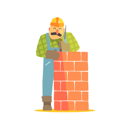 leveling: Builder Leveling Brick Wall On Construction Site. Graphic Design Cool Geometric Style Isolated Character On White Background Illustration