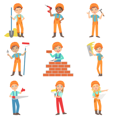 Construction Work And Kids Builders Set Of Bright Color Isolated Vector Drawings In Simple Cartoon Design On White Background