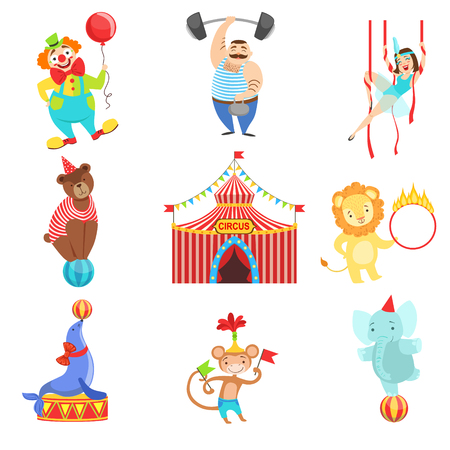 hulahoop: Circus Related Objects And Characters Set. Cute Cartoon Childish Style Illustrations Isolated On White Background.