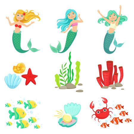 Mermaids And Underwater Nature Stickers. Cute Cartoon Childish Style Illustrations Isolated On White Background. Illusztráció