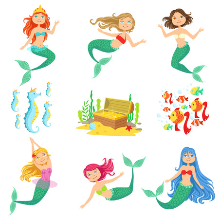 Fairy Tale Mermaids And Related Objects Set.Cute Cartoon Childish Style Illustrations Isolated On White Background.