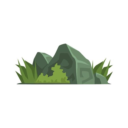 vegetation: Rocks Covered With Vegetation Jungle Landscape Element. Simple Tropical Forest Object Illustration Isolated On White Background.