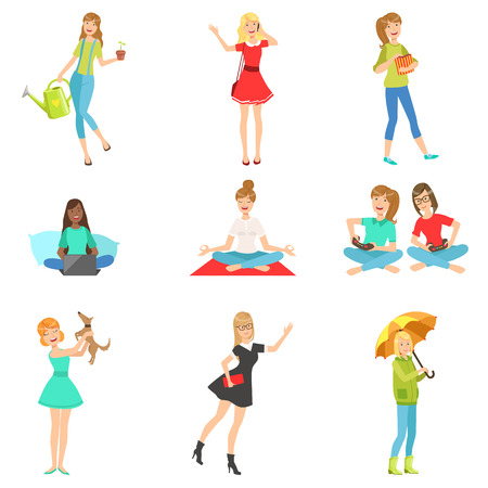 Women And Girls Different Lifestyle And Activities Collection Of Flat Simplified Childish Style Cute Vector Illustrations Isolated On White Background
