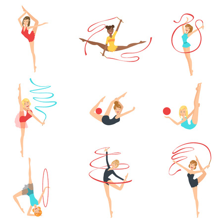 gymnasts: Rhythmic Gymnasts Training With Different Apparatus Set Of Flat Simplified Childish Style Cute Vector Illustrations Isolated On White Background