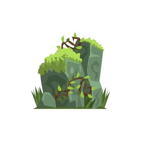 Alte Steine, die in Moos Dschungel-Landschaft Element. Einfache Tropischer Wald Objekt-Darstellung auf weißem Hintergrund.