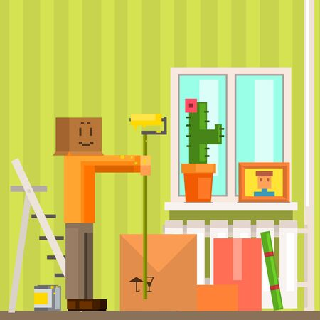 Man With Carton Box Mask Painting The Ceiling In New Apartment Pixelated Illustration. Minimalistic 8-bit Style Bright Color Illustration OF Resettlement Process. Иллюстрация