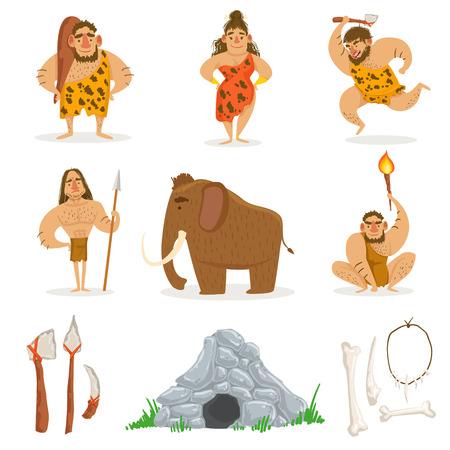 Stone Age Tribe Mensen en aanverwante voorwerpen. Leuke Cartoon Kinderachtig stijl Illustraties Op Een Witte Achtergrond.