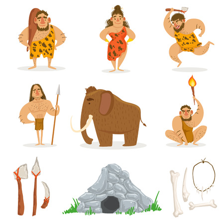 neanderthal women: Stone Age Tribe People And Related Objects. Cute Cartoon Childish Style Illustrations Isolated On White Background. Illustration