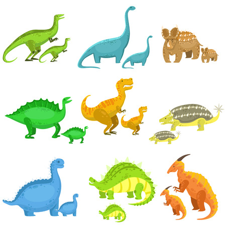 Different Dinosaurs In Pairs Of Big And Small.Cute Cartoon Childish Style Illustrations Isolated On White Background. Illustration